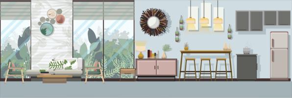 Moderno soggiorno tropicale con mobili, illustrazione vettoriale design piatto.