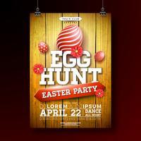 Vector l'illustrazione dell'ala di volantino del partito di caccia dell'uovo di Pasqua con l'uovo ed il fiore dipinti