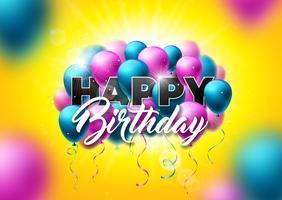 Buon compleanno disegno vettoriale con palloncini