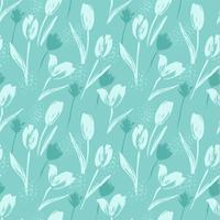 Tulipani senza cuciture floreali astratti del modello Strutture tridimensionali disegnate a mano. vettore
