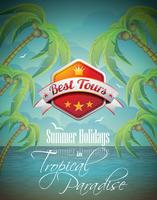 Vector Summer Holiday Flyer Design con palme e Banner Best Tour sullo sfondo del mare.