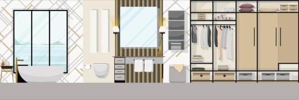 Interno di lusso bagno moderno con mobili, illustrazione vettoriale design piatto