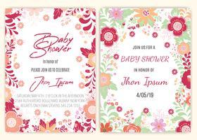 carta di decorazioni floreali baby shower vettore