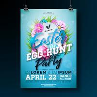 Illustrazione di volantino festa di Pasqua di vettore con uova dipinte