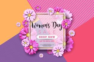 Cartolina d'auguri felice di festa della Mamma con il fiore su fondo rosa