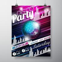 Progettazione di volantino festa in discoteca vettoriale con palla da discoteca su fondo lucido.