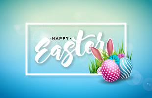 Illustrazione vettoriale di felice vacanza di Pasqua con uova dipinte