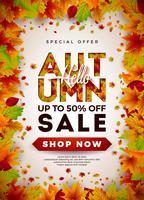 Autumn Sale Design con foglie che cadono vettore