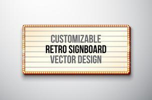 Retro insegna o lightbox illustrazione con design personalizzabile vettore