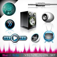 Collezione di icone vettoriali su un tema di musica e media.