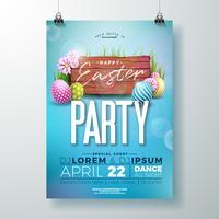 Illustrazione di volantino festa di Pasqua di vettore con uova dipinte e fiori