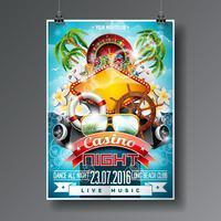 Vector Party Flyer design su un tema di Casino con la ruota della roulette e gli elementi estivi