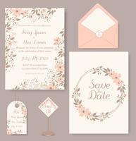 carta di invito a nozze con modelli di fiori