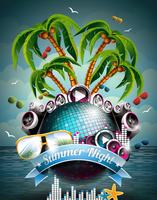 Vector Summer Beach Party Flyer Design con palla da discoteca e altoparlanti