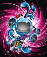 Illustrazione vettoriale su un tema di media e film con tv futuristico
