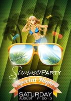 Vector Summer Holiday Flyer Design con palme e Banner Best Tour sullo sfondo del mare