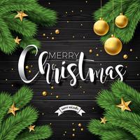 Illustrazione di buon Natale su priorità bassa di legno dell'annata