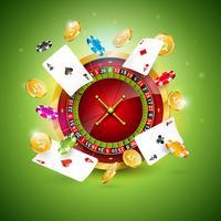 Illustrazione del casinò con la ruota della roulette, carte da poker e chip di gioco vettore