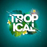 Illustrazione tipografica di vacanza tropicale con foglie e fiori esotici
