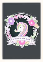 La bella testa di unicorno e l'iscrizione sono unici con l'illustrazione delle stelle vettore