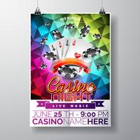 Vector Party Flyer design su un tema di Casino con fiches e carte da gioco