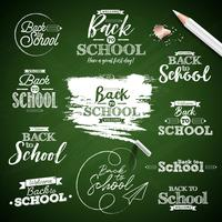 Torna a scuola design impostato su sfondo verde lavagna
