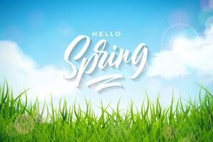 Illustrazione di primavera con erba verde su sfondo paesaggio natura vettore