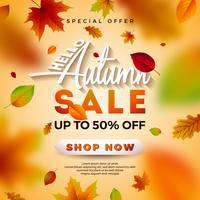 Autumn Sale Design con foglie che cadono e lettering vettore