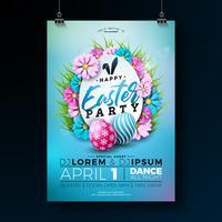 Illustrazione dell'aletta di filatoio del partito di Pasqua con le uova dipinte vettore