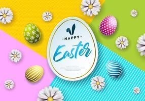 Illustrazione della felice vacanza di Pasqua con uova dipinte e fiori