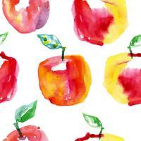 Reticolo senza giunte dell'acquerello con mele rosse. Disegno disegnato a mano.