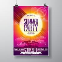 Vector Summer Beach Party Flyer Design con elementi tipografici su sfondo paesaggio oceano.