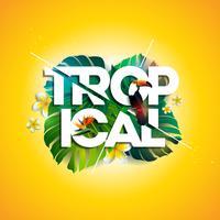 """Illustrazione """"tropicale"""" con uccello Tucano, foglia esotica e fiore"""