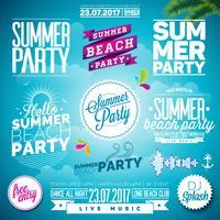 L'illustrazione di tipografia del partito della spiaggia di estate di vettore ha messo con i segni ed i simboli