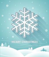 Vector l'illustrazione di Natale con il fiocco di neve 3d su fondo blu.