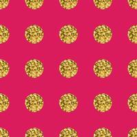 Modello a pois d'oro su sfondo rosa. vettore