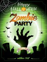 Illustrazione vettoriale su un tema di Halloween Zombie Party su sfondo verde.