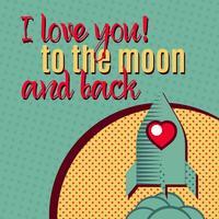 Ti amo fino alla Luna e ritorno. vettore