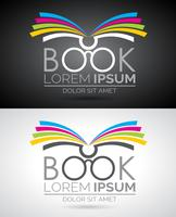 Illustrazione di logo del libro di vettore. Modello di icona per l'istruzione o la società.