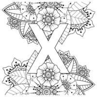 lettera x con fiore mehndi. ornamento decorativo in etnico orientale vettore