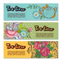 Set di modelli di banner tea time design vettore