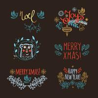 Titolo di Natale disegnato a mano d'epoca vettore