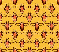 Modello senza cuciture con api arancioni in stile Monoline.