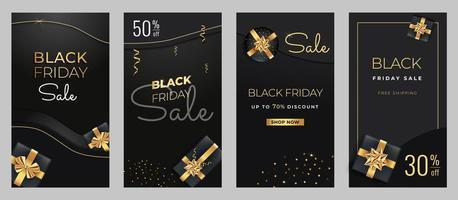 banner verticali di vendita venerdì nero con scatole regalo nere e dorate. vettore