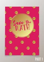 Carta di tendenza per matrimoni, salva l'invito per la data, RSVP e biglietti di ringraziamento.