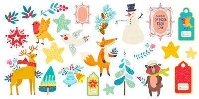 Stampe animali magiche di Natale e altri elementi.