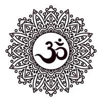 Suono sacro Om o Aum indiano, mantra originale, parola di potere. vettore