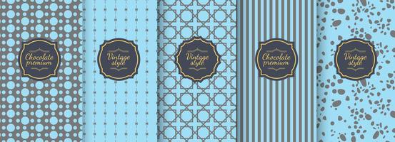 Set di sfondi senza giunte dell'annata blu per design d'imballaggio di lusso. vettore