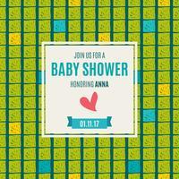 Baby shower invitation card green flash color. vettore