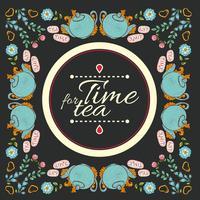 "cornice ghirlanda di fiori di tè ""tempo per il tè"" vettore"
